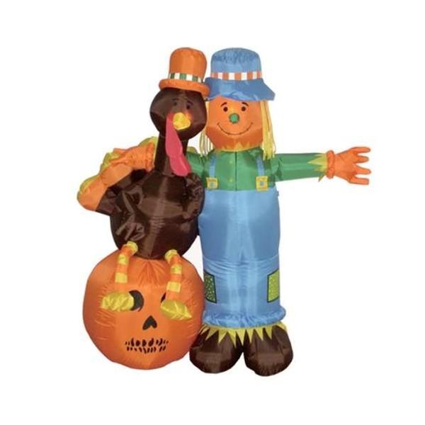 6 Foot Thanksgiving Inflatable Scarecrow Turkey Pumpkin
