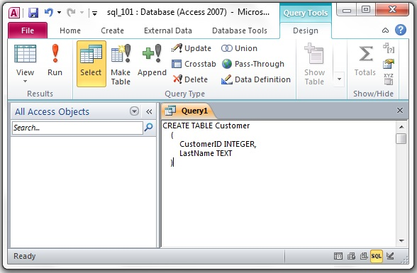 how to create a query in access 2007