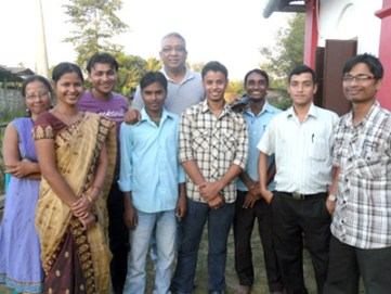 Media person Mrinal Talukdar  at  BCRS in October 2012.He appreciated the programmes and spots made the first time community and offered valuable suggestions and feedback for the upcoming station.