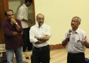 CEO, C-NES Dr Dipankar Das speaking before the screening at Guwahati while Sanjoy Hazarika and Maulee Senapati, the Director listen