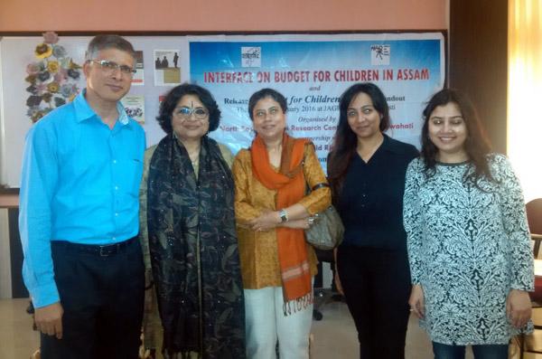Melvil Pereira, Director NESRC, Enakshi Ganguly Thukral, HAQ: Centre for Child Rights, Bhaswati Goswami,C-NES and Binita Kakoti, Researcher, NESRC at the interface