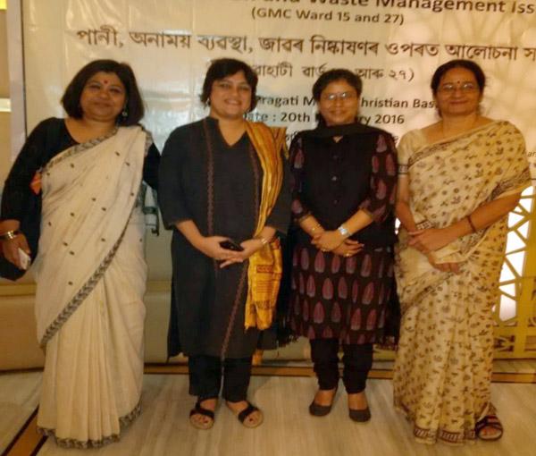 (From left )Dr Monica Banerjee, Director, Programmes,NFI, Sathyashree Goswami, NFI, Bhaswati Goswami ,C-NES, Prof. Joshomayee Devi, Executive Director FST, Guwahati