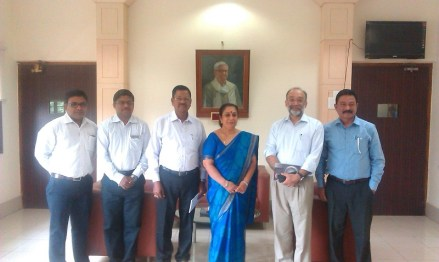 Dr Sanjay Patanshetty,HOD, Deptt of Public Health, Dr Poornima Baliga, (middle) Dean and Prof of Immunohaematology and Blood Transfusion with C-NES Technical Consultant Dr CR Hira, Managing Trustee Sanjoy Hazarika and Programme Manager Ashok Rao