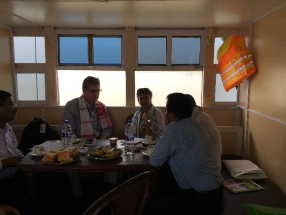 Dr Bekedam WHO India Representative onboard the Boat Clinic and interacting with the C-NES team