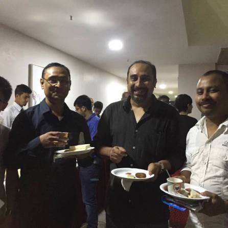 Maulee Senapati, Director (Technical) of the film (centre) flanked by Bikash Dutta, Asst Director and Hiten Thakuria post screening .