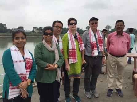 Sadia Sohail,Program Co-ordinator, Bhaswati Goswami, Chok Tsering, Programme Coordinator, Babara Harneit-Sievers, Dr. Axel Harneit-Sievers, Country Director, Heinrich Böll Stiftung, New Delhi and Dr C Hira about to board the Boat Clinic