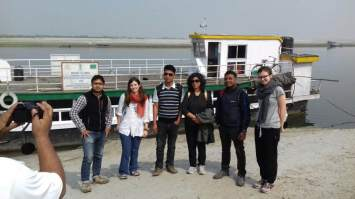 The Spanish doctors with the Medical Officers and DPO of Kamrup unit and Communications officer C-NES. At the backdrop is the Boat Clinic SB Kaliyani