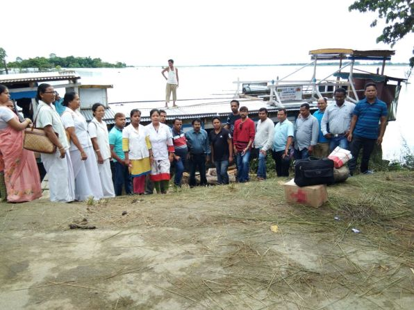 The Lakhimpur Boat Clinic team on way to a flood relief health camp on 7th July 2017. A mega health camp was held at Kaniajan village with Bihpuria BPHC.