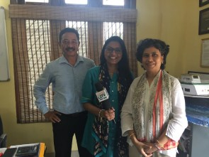 Programme Manager Ashok Rao and Communications Officer Bhaswati Goswami with the Lok Sabha TV producer Mamta Singh after their interview