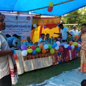 A skit on family planning as part of the World Population Fortnight from 11th July-2018 at Bongaigaon's Kabaitari pt iii island village supported by the District Health Society (DHS).