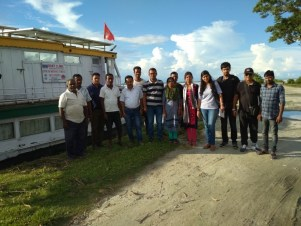 Pratyasha Achrya with the Dibrugarh Boat Clinic team