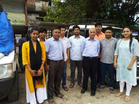 Mr Chaman Lal with the Dhemaji Boat Clinic team