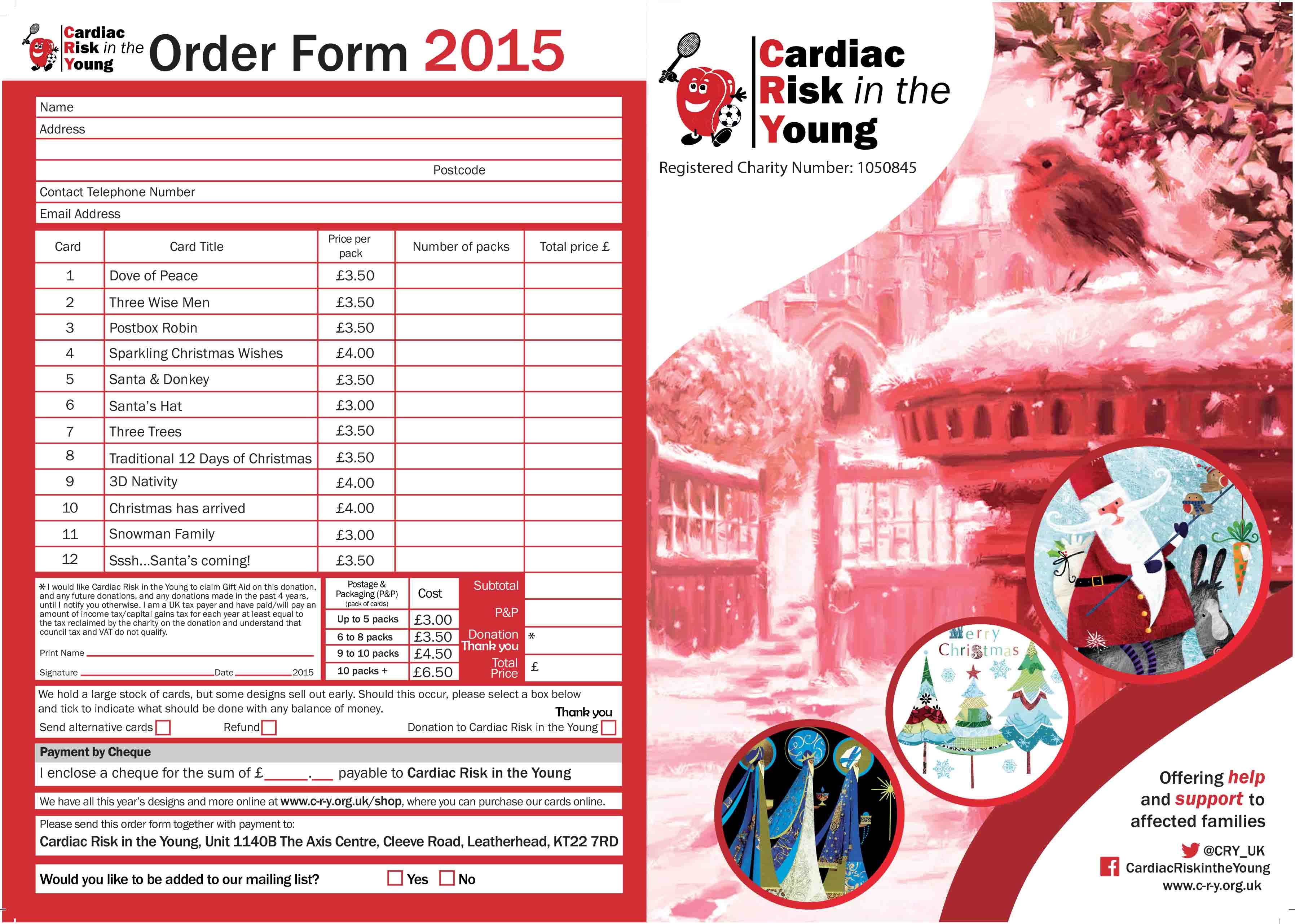 christmas card flyer with order formai