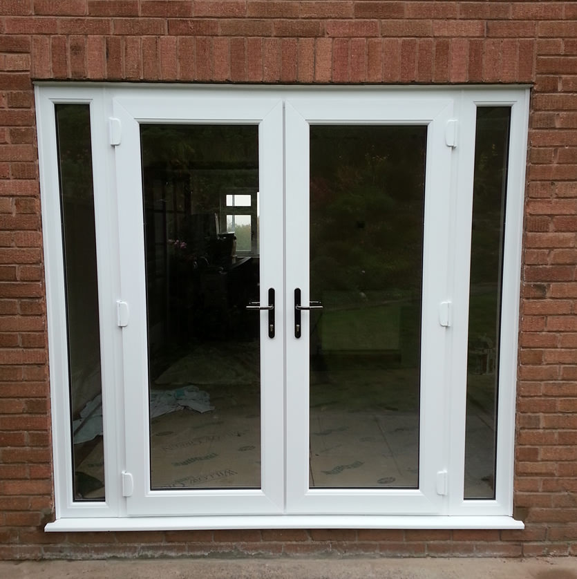 Supply and fit french doors and side panels for French doors with windows on each side