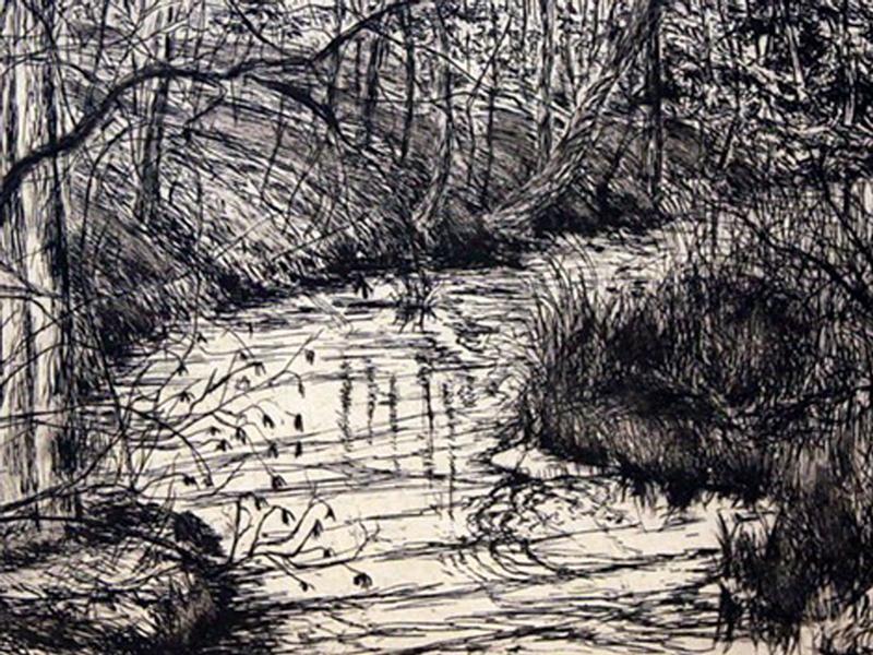 Pigeon Creek etching by Lee Ann Frame