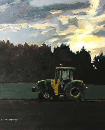 original acrylic painting of a john deere tractor and sunshine
