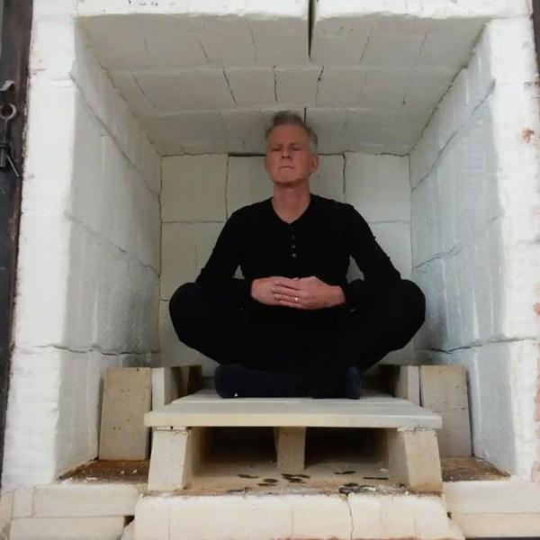 Tom Edwards in kiln