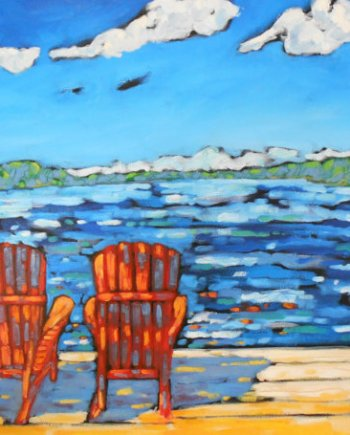 reproduction of original painting of 2 beach chairs on the beach by Christi Dreese