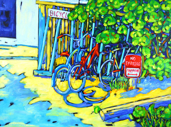 print of original painting no parking by christi dreese