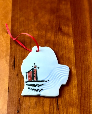 handmade ceramic michigan ornament lighthouse