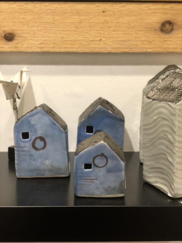 set of 3 blue houses by cyndi casemier
