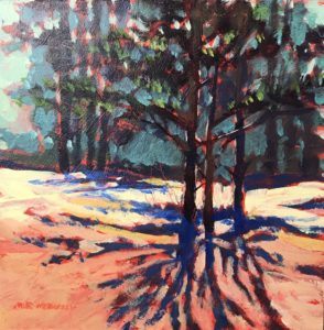 original acrylic painting of shadows in the winter