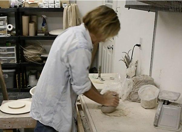 Cyndi wedging clay