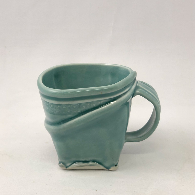 Additional view of hand built square mug by Marion Angelica