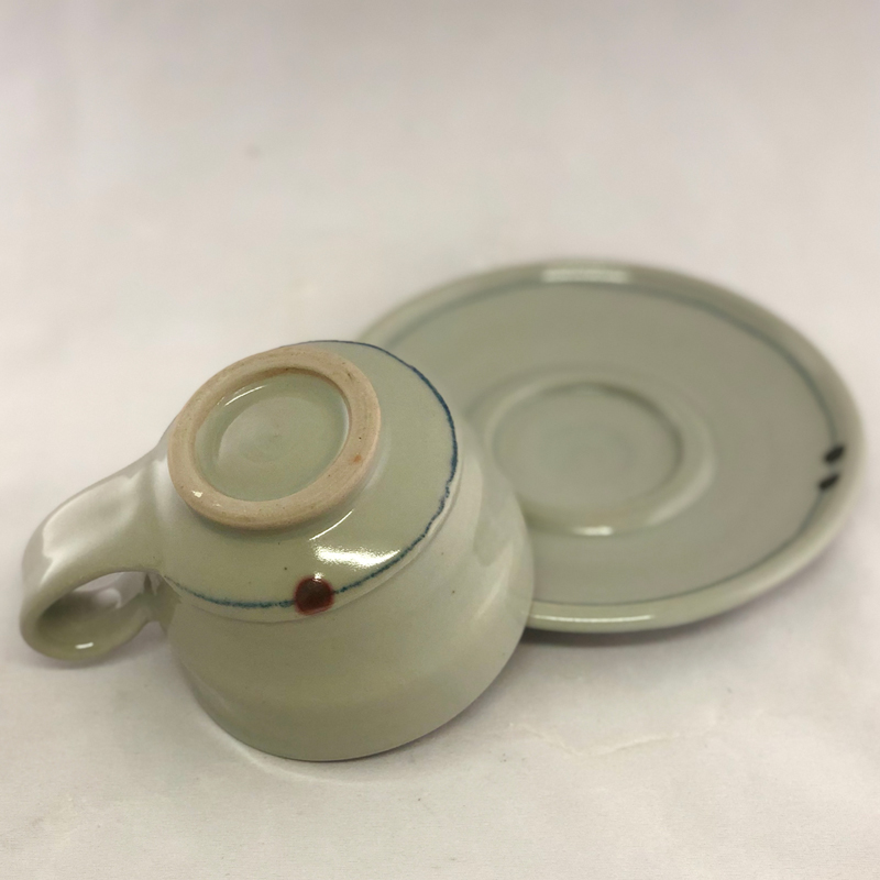 bottom view of cup and saucer