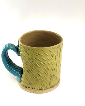 Green Textured Mug, Hand Built by Cory McCrory