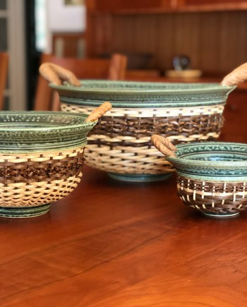 three ceramic baskets by stephen kostyshyn