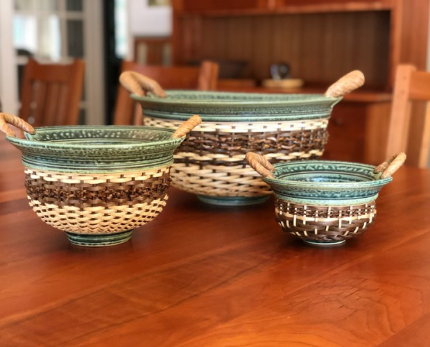 three ceramic baskets by stephen kostyshyn
