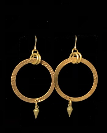 Flat Hoop with Charm Earrings by Lochlin Smith