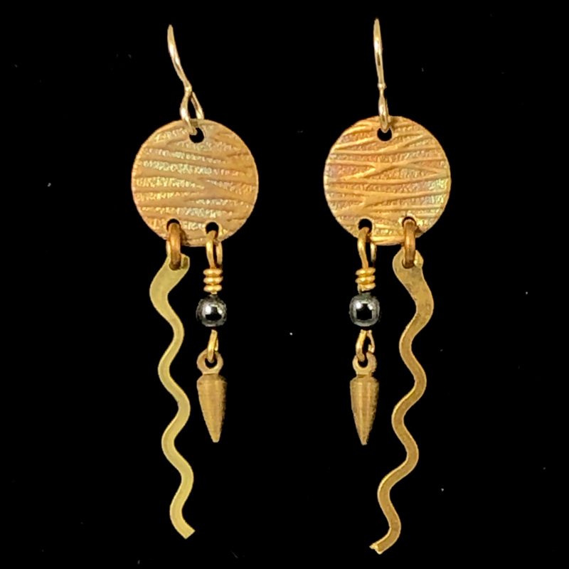 Squiggle Charm Disc Earrings by Lochlin Smith
