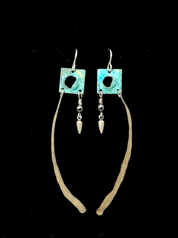 Aqua Silver Square Long Earrings by Lochlin Smith