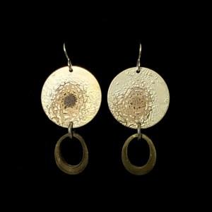 Gold Silver Oval Drop Earrings by Lochlin Smith