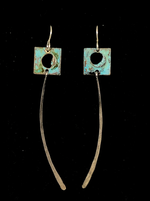 Blue Silver Square Long Earrings
