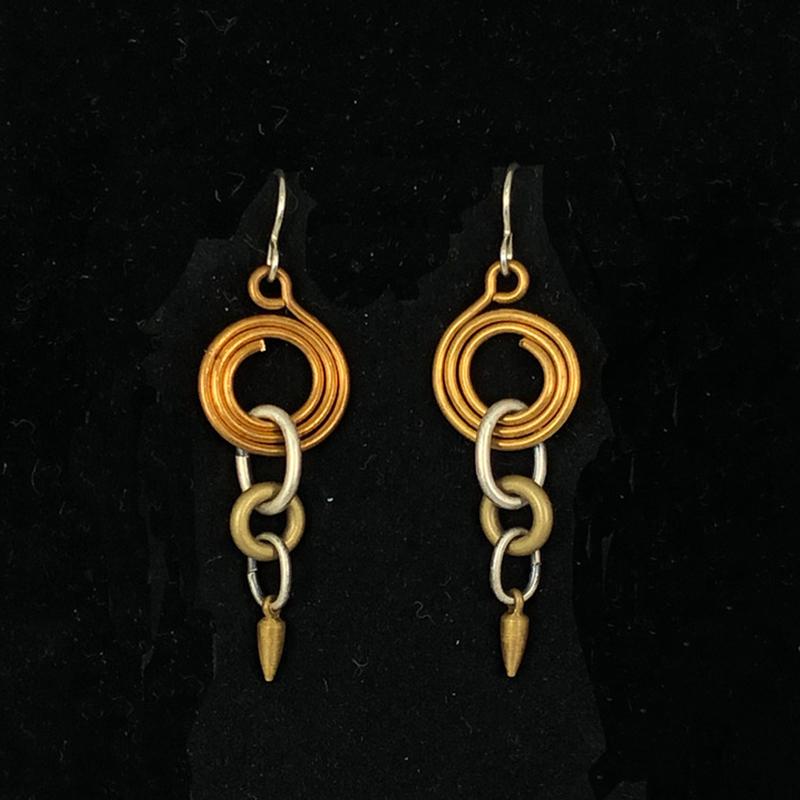 Copper Brass Multi Loop Earrings by Lochlin Smith