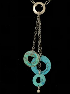 Turquoise & Silver 3 Disc Drop Necklace
