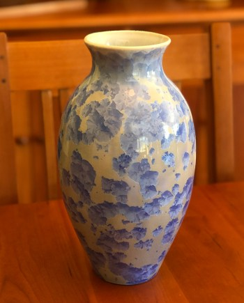 Lt Cobalt Crystalline Vase by Brooks Bouwkamp