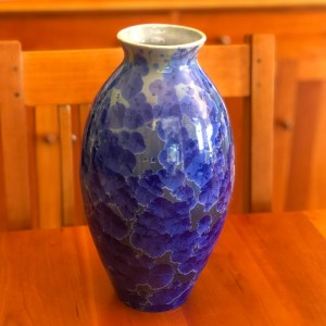 Dark Cobalt Crystalline Vase by Brooks Bouwkamp