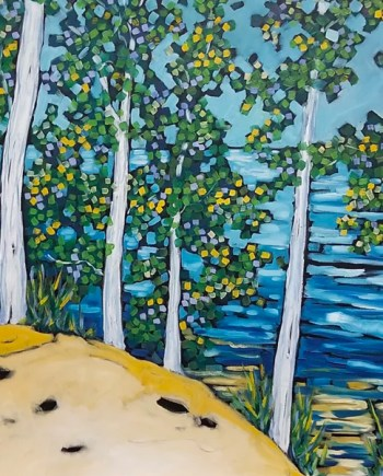 original oil painting of Rolling Woodlands and Lake Michigan
