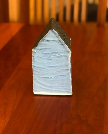 Medium Blue Ceramic House by Cyndi Casesmier