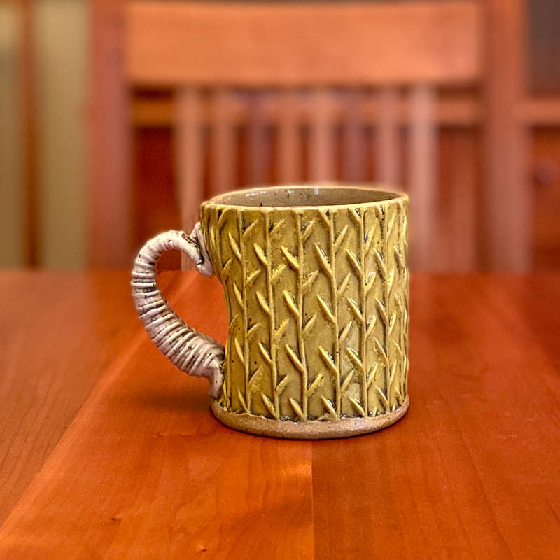 Green Textured Mug with White Handle