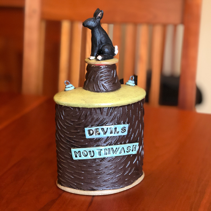 Devils Mouthwash Paper Clay Flask by Cory McCrory