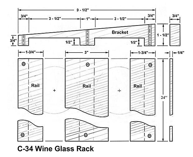 wine glass hanging rack plans
