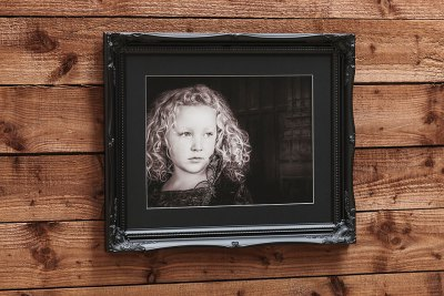 "Swept Art Frame - 20""x16"" - Template Used = DT-079 - 20x16 (16x12) - Frame = Black / Mount = Black"
