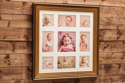 """Deco Frame - 30""""x30"""" - Template Used = DT-176 - 30x30 (10x10 + 10x6 x4 + 6x6 x4) - Frame = Gold / Mount - Minuet / Glass = Yes"""