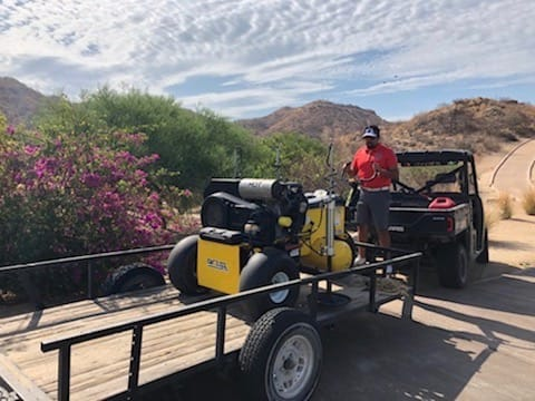 Unloading the Air2G2 at El Dorado Golf Club, Cabo, Mexico