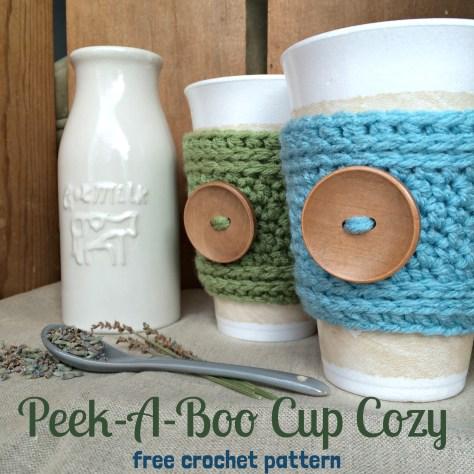 Crochet Cup Cozy Pattern Peek A Boo Cup Cozy Free Crochet Pattern